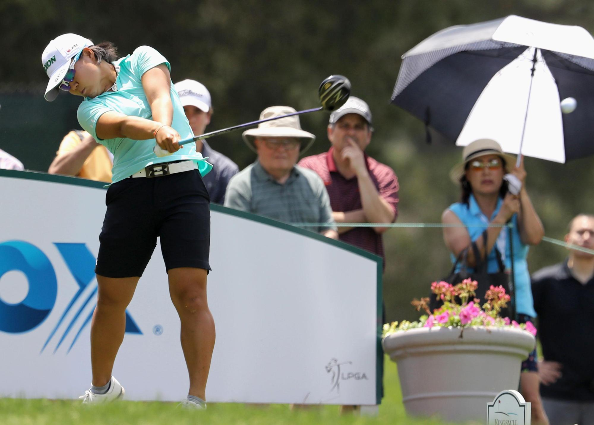 Nasa Hataoka hits her tee shot on the third hole during the final round of the Kingsmill Championship on Sunday in Williamsburg, Virginia. | KYODO