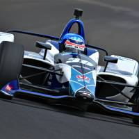 Takuma Sato drives through Turn 2 in qualifying for the 102nd Indianapolis 500 on Sunday at the Indianapolis Motor Speedway. | JOHN COTE / VIA INDYCAR.COM