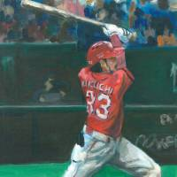 Carp second baseman Ryosuke Kikuchi takes a swing in a painting by Andy Brown. | COURTESY OF ANDY BROWN.
