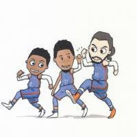 Nanae Yamano's pictures of the NBA's Oklahoma City Thunder, such as this one of players (from left) Russell Westbrook, Andre Roberson and Steven Adams, have proved to be a hit in the United States. | COURTESY OF NANAE YAMANO