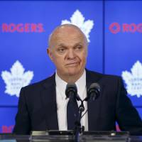 Maple Leafs general manager Lou Lamoriello, speaking to reporters in Toronto on Friday, is set to become a senior adviser for the team. | AP
