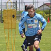 Yokohama FC forward Kazuyoshi Miura, seen practicing on Tuesday, was a key player for Verdy Kawasaki when the J. League began in 1993. | KYODO