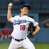 Maeda exits game in second with strained hip
