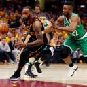 Cavaliers forward LeBron James drives past the Celtics' Semi Ojeleye during the first half  of Game 3 of the Eastern Conference finals on Sunday.