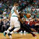 Cleveland's LeBron James drives on Boston's Marcus Morris in the first quarter of Game 5 on Wednesday night.  Greg M. Cooper / USA TODAY /