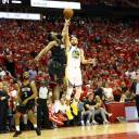 Golden State's Stephen Curry puts up a jumper over Houston's James Harden in Game 5 on Thursday.