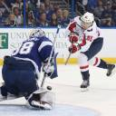 Washington's Andre Burakovsky scores past Tampa Bay goalie Andrei Vasilevskiy in the second period of Game 7 on Wednesday night.