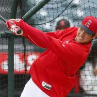 The Angels' Shohei Ohtani belted four homers, drove in 12 RBIs and batted .341 through April 30. | KYODO