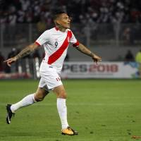 Peru captain Paolo Guerrero, seen in an October 2017 file photo, will miss the World Cup due to a doping ban, it was announced on Monday. | AP