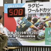 Pedestrians look at a countdown board for the 2019 Rugby World Cup, installed near JR Motomachi Station in Kobe, on Tuesday, showing 500 days to go until the event's opening. | KYODO