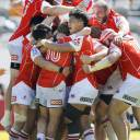 Sunwolves players celebrate after Hayden Parker's kick gave them a 26-23 victory over the Stormers in Hong Kong on Saturday.