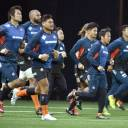 The Brave Blossoms run during a morning practice on Nov. 25, 2017, ahead of a match against France in Paris.