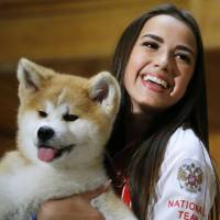 Akita group gives puppy to Olympic champion skater Alina Zagitova