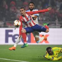 Griezmann scores twice as Atletico beats Marseille to claim Europa League final
