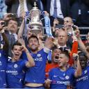 Chelsea players celebrate after defeating Manchester United to win the F.A. Cup on Saturday in London.