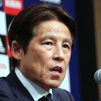 Japan coach Akira Nishino speaks at a news conference in Tokyo on Thursday where he announced his 23-man squad for the 2018 World Cup. | REUTERS