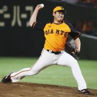 Yomiuri ace Tomoyuki Sugano made his pro debut in 2013 and has a 66-35 record and a 2.18 ERA in 946⅓ innings during his NPB career. | KYODO