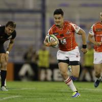 The Sunwolves' Yu Tamura, seen in a May 2017 file photo,  is listed as a backup back for Saturday's match against the Reds on Saturday in Tokyo. | AP