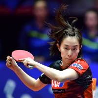 Kasumi Ishikawa competes at the World Team  Table Championships on Thursday in Halmstad, Sweden. | KYODO