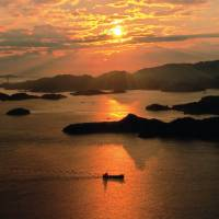 Scenic view overlooking the Seto Inland Sea from the top of Mount Ryuo in Mihara, Hiroshima Prefecture. CITY OF MIHARA