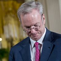 Eric Schmidt, director at Alphabet Inc., attends a National Space Council meeting in the East Room of the White House in Washington on Monday. | BLOOMBERG