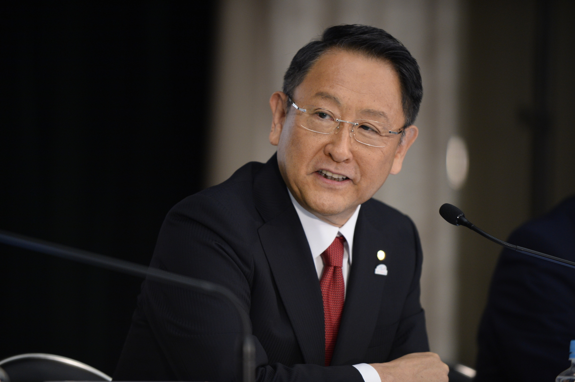 Toyota Motor Corp. President Akio Toyoda heads the Japan Automobile Manufacturers Association, which emphasized domestic carmakers' contributions to the United States in creating jobs and investment in a report Wednesday. | BLOOMBERG