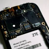 The inside of a ZTE smart phone is pictured in this illustration taken April 17. | CARLO ALLEGRI / ILLUSTRATION / VIA REUTERS