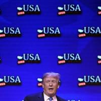 U.S. President Donald Trump speaks during a roundtable discussion on tax reform at the South Point Hotel Casino and Spa in Las Vegas Saturday.   AFP-JIJI