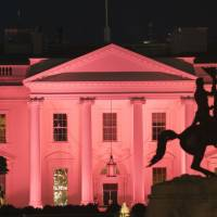 The White House is illuminated in pink for Breast Cancer awareness month in Washington last October. The majority of women with a common form of breast cancer may be able to skip chemotherapy after surgery, based on their score on a genetic test, researchers said Sunday. As many as 65,000 women in the U.S. alone could be impacted by the study, described as the largest breast cancer trial to date, released at the American Society of Clinical Oncology annual meeting in Chicago. | AFP-JIJI