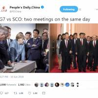 A Sunday tweet from the official Twitter account of the People's Daily newspaper compares photos of the Group of Seven leaders summit and Shanghai Cooperation Organization meeting.