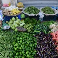 An Indian vendor sells vegetables at a roadside stall in Amritsar, India, in March. Global warming is expected to make vegetables significantly scarcer around the world, unless new growing practices and resilient crop varieties are adopted, researchers warned on Monday. | AFP-JIJI