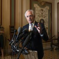 Senate Foreign Relations Committee Chairman Bob Corker, R-Tenn., speaks to reporters after meeting with Canada's Minister of Foreign Affairs Chrystia Freeland on Capitol Hill in Washington Wednesday. The meeting with Freeland comes after President Donald Trump insulted Canadian Prime Minister Justin Trudeau at the Group of Seven summit, calling him 'dishonest' and 'weak,' after the prime minister spoke against American tariffs on steel and aluminum. | AP
