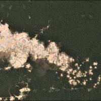 Gold mining deforestation is seen from a satellite image in the southern Amazon region of Madre de Dios, Peru. | UNDATED HANDOUT PHOTO PROVIDED BY MATT FINER / VIA REUTERS