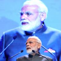 Indian Prime Minister Narendra Modi delivers the keynote address during the Shangri-La Dialogue security conference in Singapore on June 1. | BLOOMBERG