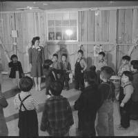 The kindergarten room at the Rohwer Relocation Center in McGehee, Arkansas, is shown on Nov. 22, 1942, in this photo by the War Relocation Authority of the Department of the Interior.