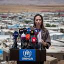 This handout picture released by the UNHCR shows special envoy Angelina Jolie speaking at a news conference in the Domiz refugee camp in Iraq's autonomous Kurdistan region on May 17. The Hollywood star called for a larger focus on conflict prevention rather than responding to its repercussions, during a visit to Iraq with the U.N. refugee agency.