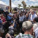 Sen. Jeff Merkley, a Democrat from Oregon, speaks to members of the media outside a U.S. Border Patrol processing center in McAllen, Texas, on Sunday. Democrats escalated their attacks on President Donald Trump's policy of separating immigrant children from parents who illegally cross the Mexican border, as public outrage over the practice balloons into an election-year headache for Republicans.