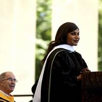 Actor, writer and comedian Mindy Kaling delivers the main address at the Dartmouth College Commencement on Sunday in Hanover, New Hampshire. Kaling graduated from the Ivy League school in 2001. | JENNIFER HAUCK / THE VALLEY NEWS / VIA AP