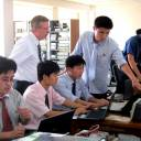 Students of Pyongyang University of Science and Technology attend a class in Pyongyang.