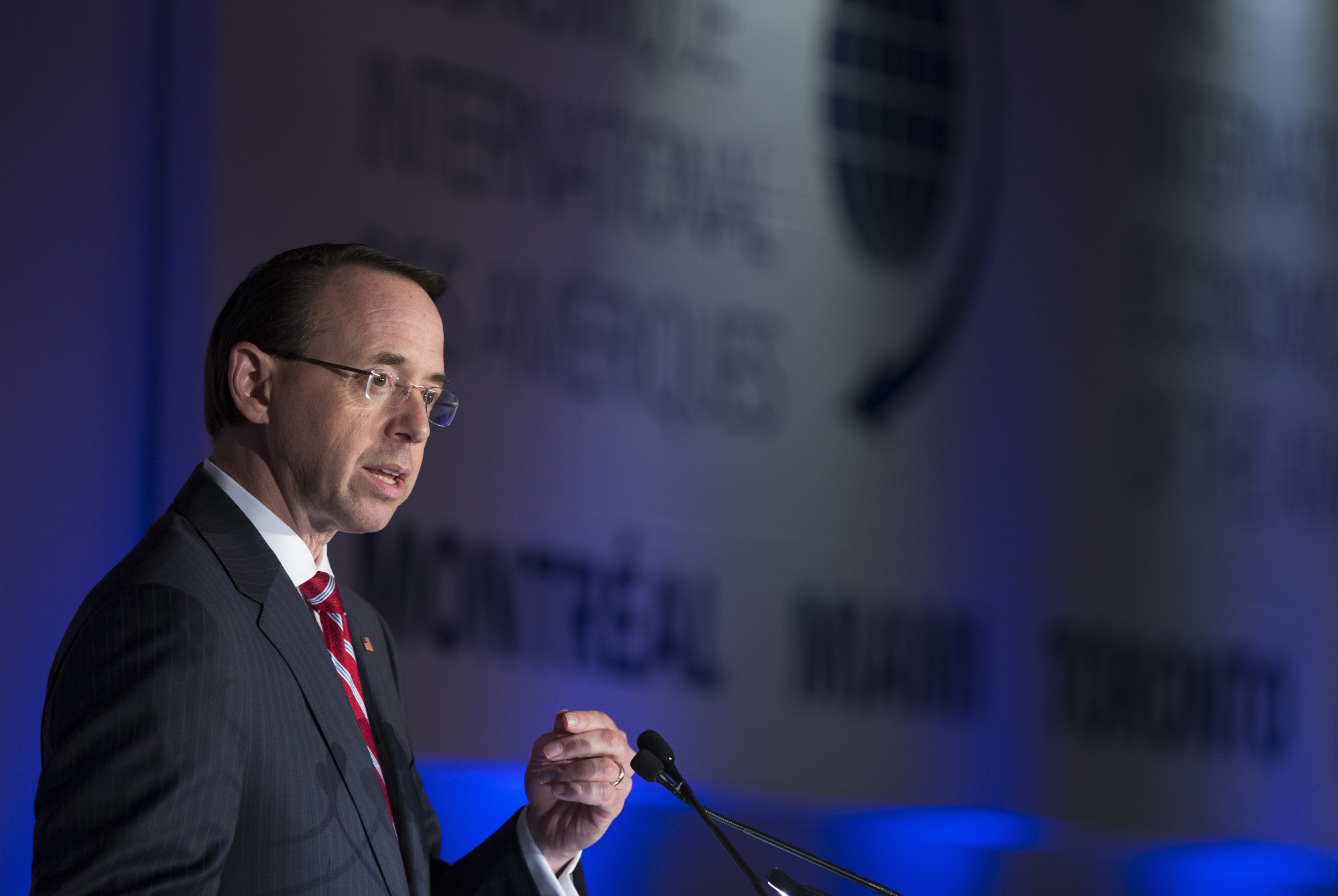 Rod Rosenstein, deputy attorney general, speaks during the International Economic Forum Of The Americas (IEFA) in Montreal, Quebec, Monday. | BLOOMBERG
