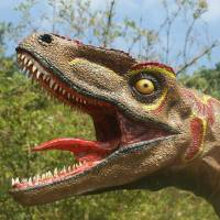 This sculpture of a dinosaur with its tongue waving wildly is incorrect, according to new research led by The University of Texas at Austin and the Chinese Academy of Sciences. | AFP-JIJI