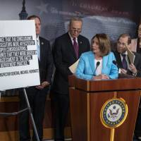 Democrats (from left) Rep. Adam Schiff, ranking member of the House Intelligence Committee; Senate Minority Leader Chuck Schumer; House Minority Leader Nancy Pelosi; Rep. Jerrold Nadler, the ranking member of the House Judiciary Committee; and Sen. Dianne Feinstein, the ranking member of the Senate Judiciary Committee, respond to the Justice Department's internal 18-month review of the FBI's handling of the Hillary Clinton email investigation, on Capitol Hill in Washington Thursday. | AP