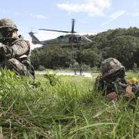 South Korean Army soldiers take part in the annual Ulchi Freedom Guardian exercise in Yongin, South Korea, last August.   AP