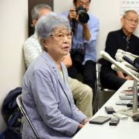 Sakie Yokota, the mother of Megumi Yokota who was abducted by North Korea in 1977, speaks during a news conference in Kanagawa Prefecture after the U.S-North Korea summit in Singapore on Tuesday. | SATOKO KAWASAKI