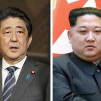 A japanese government source said Kim Jong Un (right) expressed readiness to meet Prime Minister Shinzo Abe. | KYODO, XINHUA NEWS AGENCY / VIA KYODO