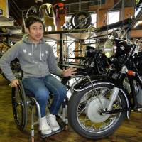 Now in a wheelchair, Japanese ex-motorcycle racer still passionate about bikes at Aichi shop