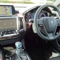The interior of Toyota's latest version of the Crown luxury sedan is seen at a test course in Shizuoka Prefecture on June 7. | SHUSUKE MURAI