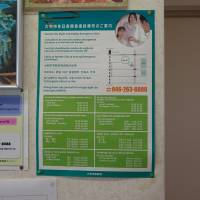 A poster at Kobayashi International Clinic in Yamato, Kanagawa Prefecture, shows who to call for medical emergencies on holidays and weekends in multiple languages. | SARAH SUK