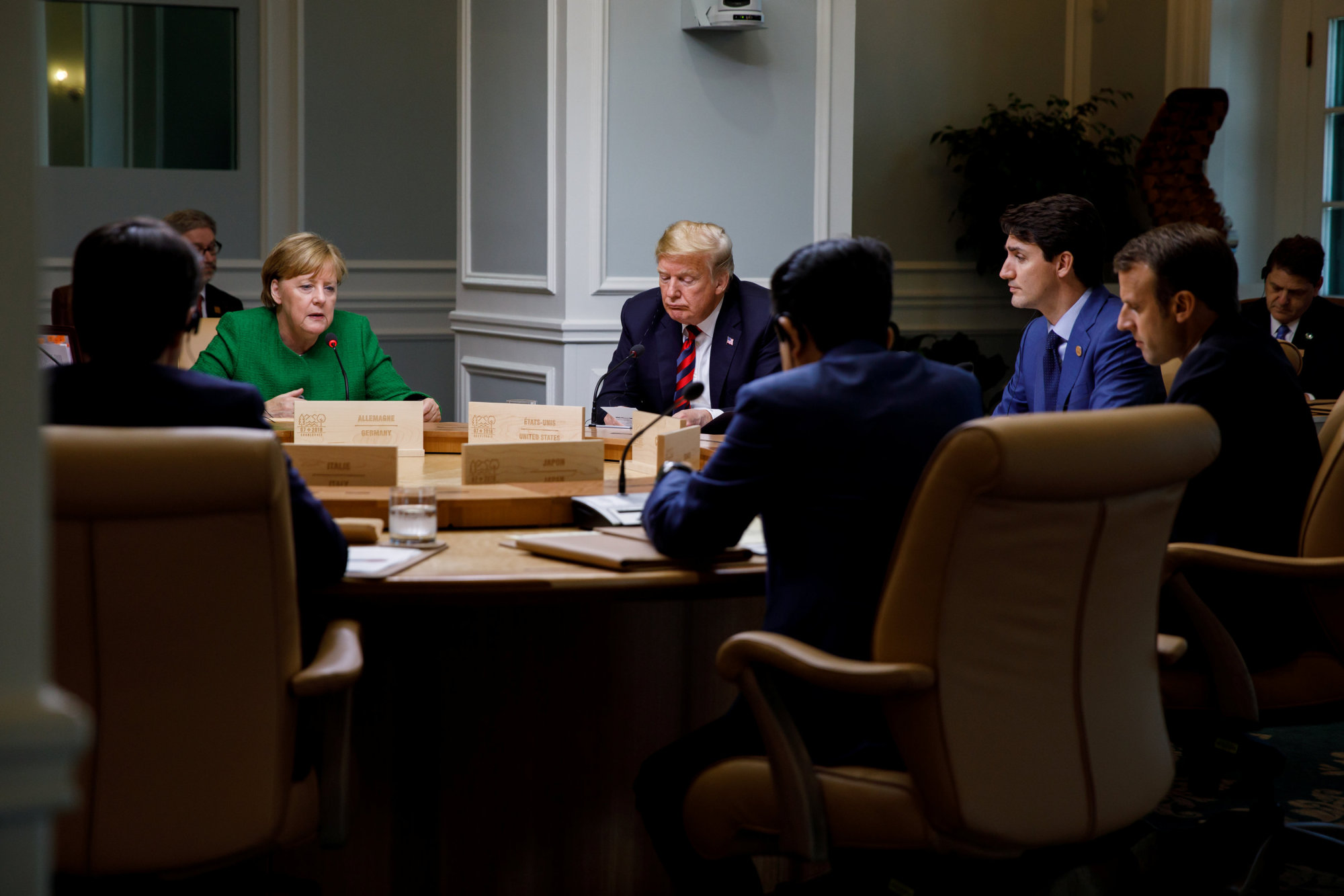 Canada's Prime Minister Justin Trudeau and G7 leaders France's President Emmanuel Macron, Germany's Chancellor Angela Merkel, Prime Minister Shinzo Abe and U.S. President Donald Trump take part in a working session of the G7 meeting in Charlevoix city of La Malbaie, Quebec, Canada on Friday. | PRIME MINISTER'S OFFICE/HANDOUT VIA REUTERS
