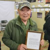 Takeshi Furumoto, a Japanese-American born in an internment camp during World War II, poses during an event in New York in April. | KYODO
